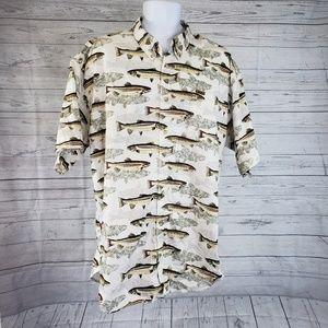 Cabelas Shirt Sz 2XL Fish Print Short Sleeve